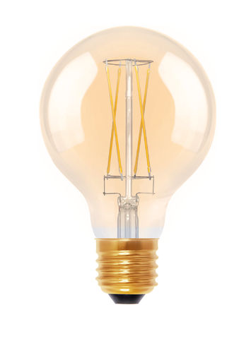 "LED Globe Lampe ""Golden - Glass"" -  Klar E-27 - 6,0 Watt (30W) 2.000 Kelvin - Dimmbar T-80"