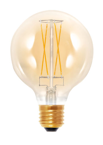 "LED Globe Lampe ""Golden - Glass"" - Klar E-27 - 6,0 Watt (30W) 2.000 Kelvin -  Dimmbar T-95"