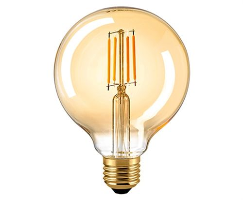 "LED Globe Lampe ""Golden - Glass"" -  Klar E-27 - 7,0 Watt (55W) 2.500 Kelvin - Dimmbar T-95"