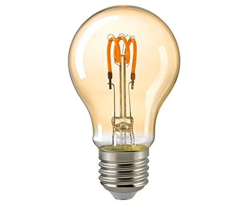 "LED Glühlampe - Klar  . E-27 - 2,5 Watt (15W) 2.000 Kelvin - Dimmbar ""Gold"" Curved"