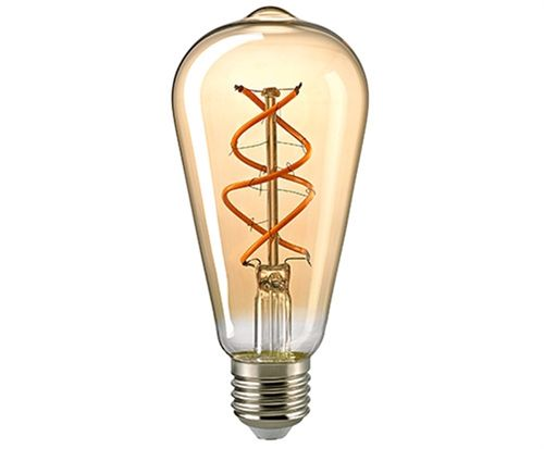 "LED Glühbirne Rustika E-27 - 5,0 Watt (25W) 2.000 Kelvin - Dimmbar Curved - ""Screw"" Golden Glass"