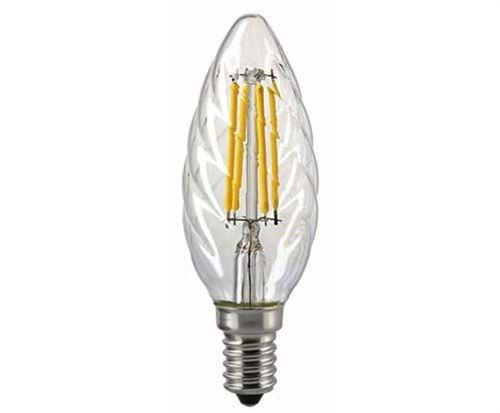"LED Kerzenlampe - Klar  E-14 - 4,5 Watt (40W)  2.700 Kelvin - Dimmbar ""Twisted Glass"""
